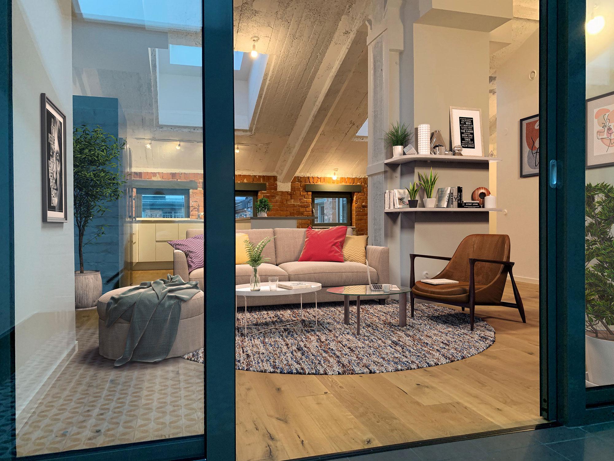 Ett mysigt möblerat vardagsrum öppnar upp sig bakom glasdörrar