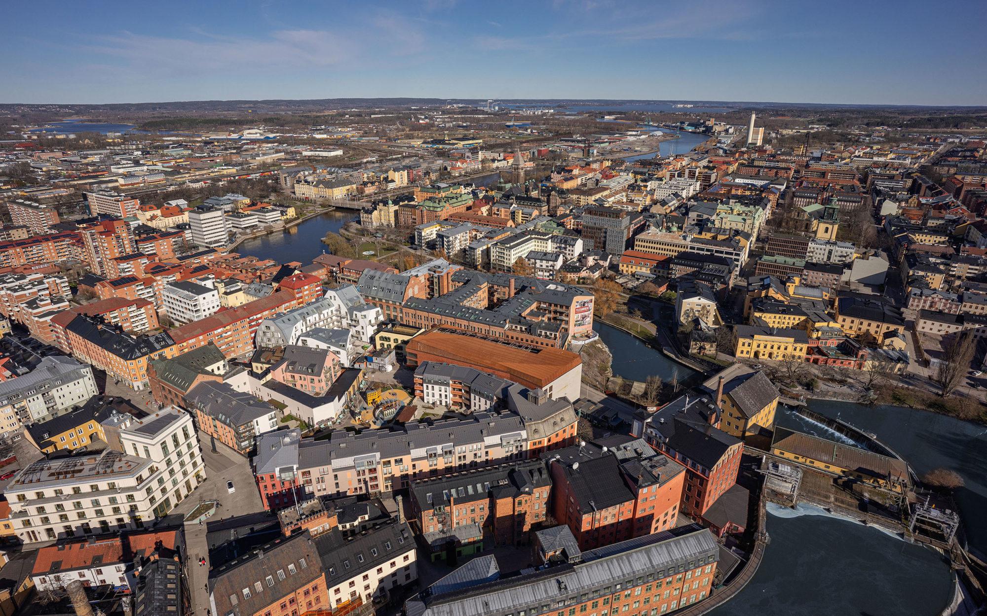 Flygfoto över Norrköping